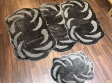 ROMANY WASHABLE TRAVELLERS MATS SET NON SLIP SUPER THICK RUGS DARK GREY CHARCOAL